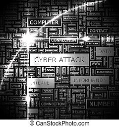 CYBER ATTACK. Word cloud concept illustration. Wordcloud collage.