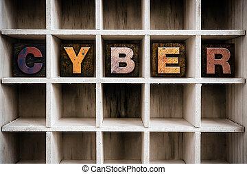 cyber, begreb, af træ, letterpress, type, ind, hæve