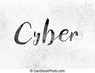 cyber, begreb, mal, ind, blæk