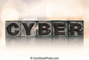 cyber, begreb, vinhøst, letterpress, type