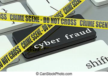 cyber, betrug, begriff, auf, der, computertastatur