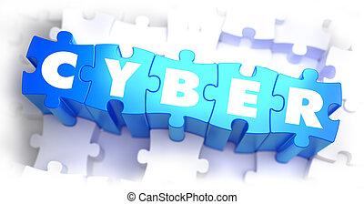 cyber, -, blanco, palabra, en, azul, puzzles.