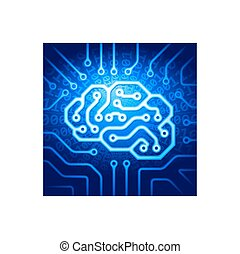 Cyber brain - Circuit board with a brain shape. Eps8. RGB....