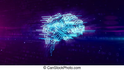Cyber brain concept animation - Cybernetic brain, deep...