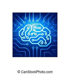 Cyber brain - Circuit board with a brain shape. Eps8. RGB....