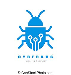 Cyber bug vector logo isolated on white background