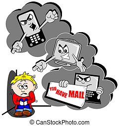 cyber, bullying, cartone animato