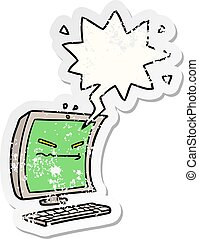 cyber bullying cartoon and speech bubble distressed sticker