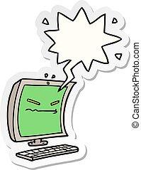 cyber bullying cartoon and speech bubble sticker