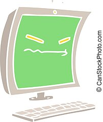 cyber bullying flat color style cartoon