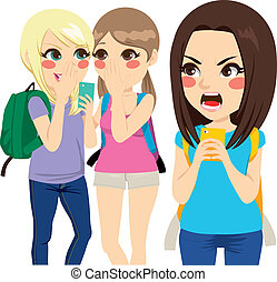 Cyber Bullying Student Girls - Two student girls making...