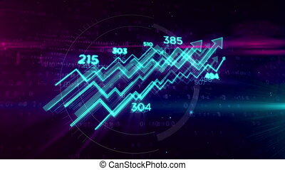 Cyber business concept with chart animation