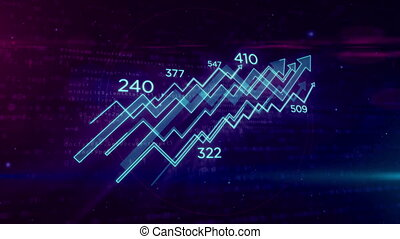 Cyber business concept with chart looping animation