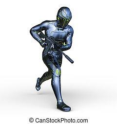 cyber, cg, man, vertolking, 3d