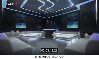 CCTV Security Camera for night club theme with timecode and noise filter effect by 3D rendering