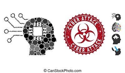cyber, collage, attaque, circuit, cerveau, cachet, grunge, icône