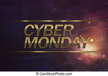 cyber, concept, maandag, zakelijk