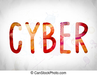 Cyber Concept Watercolor Word Art