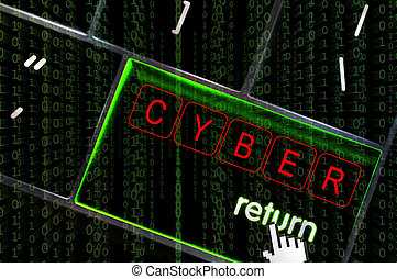 Cyber concept with the focus on the return button overlaid with binary code