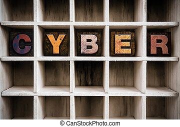Cyber Concept Wooden Letterpress Type in Draw