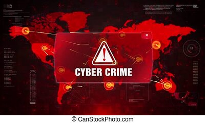 Cyber Crime Alert Warning Attack on Screen World Map Loop...