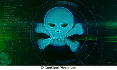 Cyber crime and skull icon digital concept - Cyber crime...