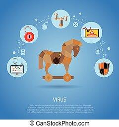 cyber, crime, conceito, com, vírus