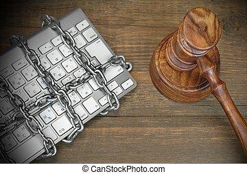 cyber, crime, concept, juges, marteau, clavier, chaîne, table