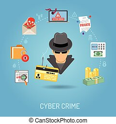 Cyber Crime Concept with Flat Icons for Flyer, Poster, Web...