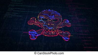 cyber, crime, croquis, futuriste, crâne, symbole