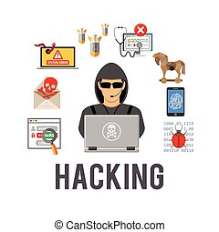 cyber, crime, e, cortar, conceito