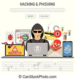 Cyber Crime, Hacking and Phishing Concept