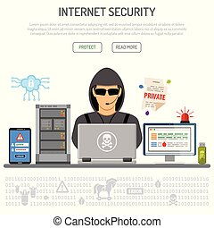 Cyber Crime, Hacking, Internet Security Concept with flat...