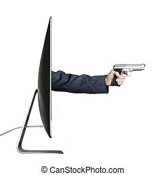 Cyber crime - Hand holding a gun, extending out from a...