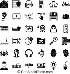 Cyber crime icons set, simple style - Cyber crime icons set....