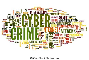 Cyber crime in word tag cloud - Cyber crime concept in word...