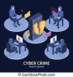 Cyber Crime Isometric Composition