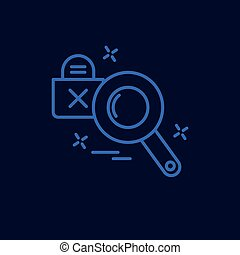 Cyber crime neon icon with blue background