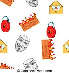 Cyber crime pattern, cartoon style