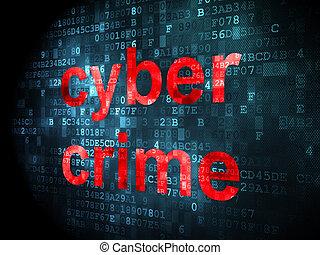 cyber, crime, protection, fond, numérique, concept: