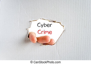 Cyber crime text concept - Cyber crime note in business man...