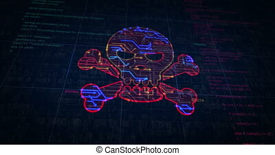 Cyber crime with skull symbol project creating. Abstract concept of darknet, internet safety, cyber attack, theft, virus and piracy 3d animation. Drawing digital scheme line of futuristic idea.