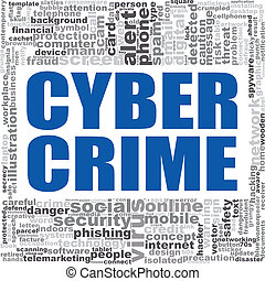 Cyber crime word cloud. Creative illustration of idea word...