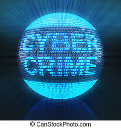 Cyber crime word on globe formed by binary code, 3d render