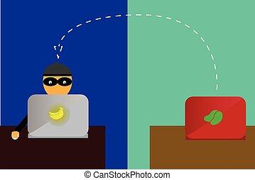 cyber, crimen, ilustración