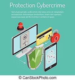 cyber, crimen, protección, isométrico, concepto