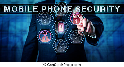Cyber Criminal Pressing MOBILE PHONE SECURITY