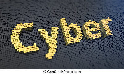 Cyber cubics - Word 'Cyber' of the yellow square pixels on a...