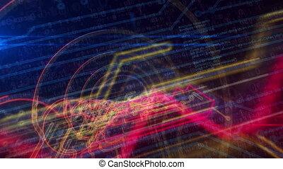 cyber, cyberespace, animation, entrée, intimité, futuriste