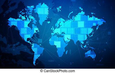 cyber, digitale wereld, rechthoek, bezielen, kaartachtergrond